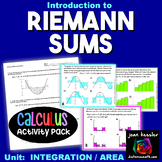 Calculus Riemann Sums Intro Task Cards plus QR and more