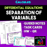 Calculus Differential Equations Separation of Variables Guided Notes Task Cards