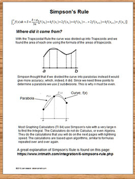 Calculus Simpson's Rule Numerical Integration