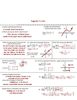 Calculus Foldable 1-1: Strategies for Finding Limits