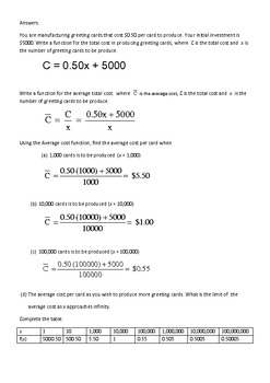 Calculus : Student's self Discovery Activity on  Limits at Infinity