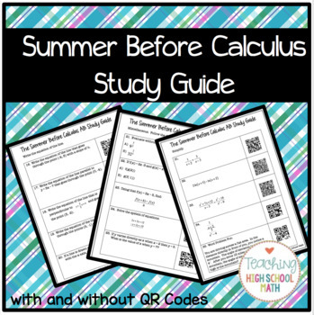 Calculus Summer Before Calculus Study Guide