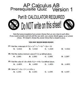 Calculus Summer Work / Prerequisite Skills Assessment