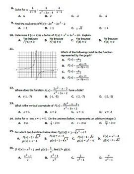 Calculus Summer Work / Prerequisite Skills Assessment