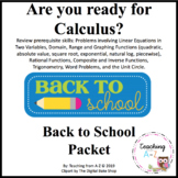 Calculus Summer or Back to School Readiness Packet