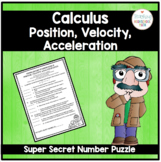 Calculus Super Secret Number Puzzle Position, Velocity, and Acceleration