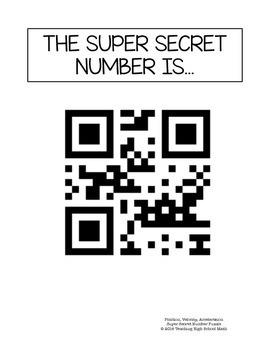 Calculus Super Secret Number Puzzle Position, Velocity, and Acceleration