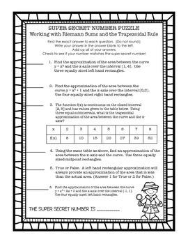 Calculus Super Secret Number Puzzle Riemann Sums and Trapezoidal Rule