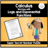 Calculus Super Secret Number Puzzle Working with Natural Log and Exponential