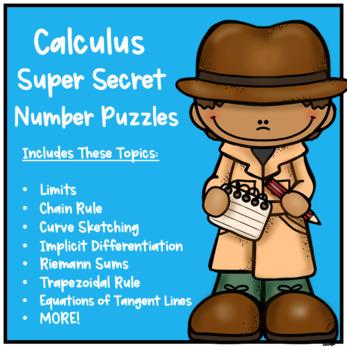 Calculus Super Secret Number Puzzles Bundle
