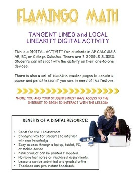 Calculus: Tangent Lines and Local Linearity Daily Quiz Google Edition