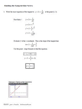 DerivativesTangents to a Curve Task Cards Guided Notes plus TI reference