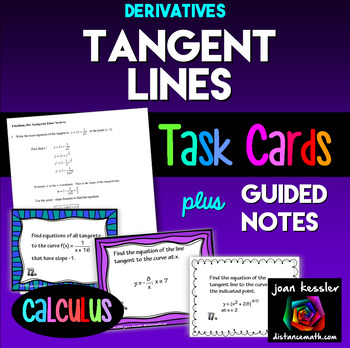 Calculus: Tangents to a Curve *Task Cards*, Notes, TI 84 notes