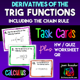 Calculus  Derivatives of Trigonometric Functions w/ Chain Rule Task Cards  HW