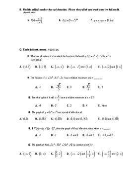 Calculus Test (2 Versions) - 3.1-3.6  (Curve Sketching)