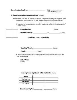 Calculus Test (2 Versions) - 3.7-3.9  (Optimiz., Newton's Meth., & Differential)