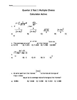 Calculus Test Cumulative Through Integration Rules