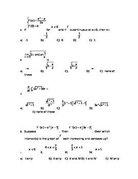Calculus Test Cumulative Through Integration Rules