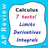 Calculus Test Package - 7 Tests - Limits, Derivatives, Integrals