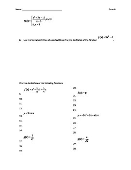 Calculus Test over limits and basic derivatives