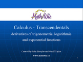 Calculus - The Transcendental Functions