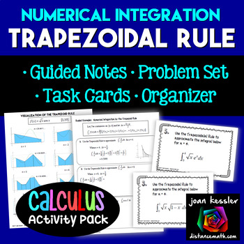 Calculus Trapezoidal Rule Integration Task Cards Guided No