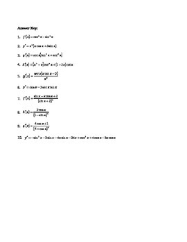 Calculus:  Trig Derivatives