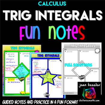 Calculus Trigonometric Integrals Comic Book Style FUN Notes and Practice