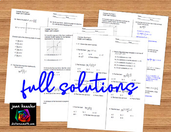 Calculus Unit 1 Limits and Continuity Editable Unit Assessment