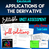 Calculus Unit 3 Applications of the Derivative Editable Assessment