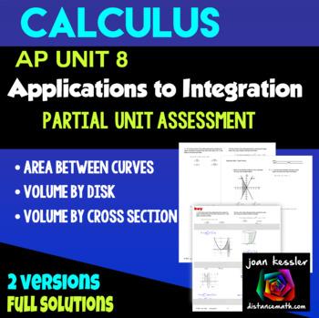 Calculus Unit 4 Custom Assessment Area Volume