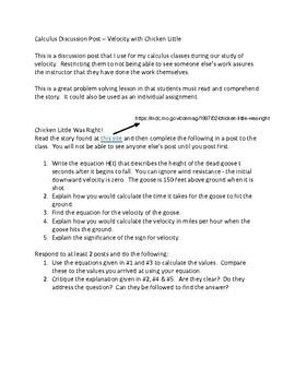 Calculus:  Velocity Discussion Board Post - Chicken Little