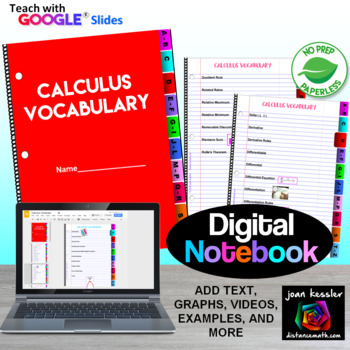 Calculus Vocabulary Interactive Digital Notebook  GOOGLE edition