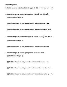 Calculus:  Volume Assignment