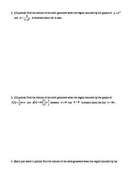 Calculus:  Volume Quiz