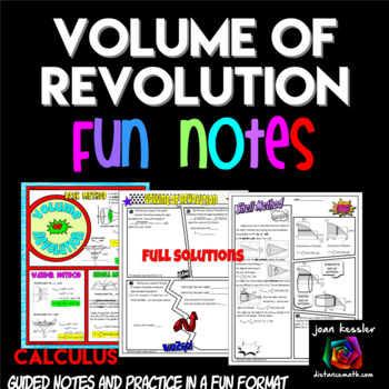 Calculus Volume of Revolution Comic Book Doodle Notes and Practice