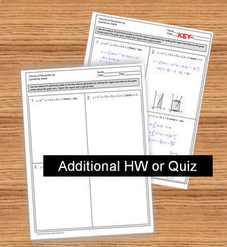 Calculus Volume of Revolution Cylindrical Shells Task Cards and Notes