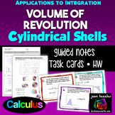 Calculus Volume of Revolution Cylindrical Shells Task Card