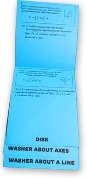 Calculus Volume of Revolution Flip Book Foldable Resource