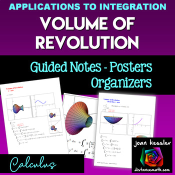 Calculus Volume of Revolution Posters Study Guide