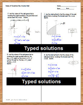 Calculus Volume of Revolution Disks, Washers, Shells Task Cards Organizer HW