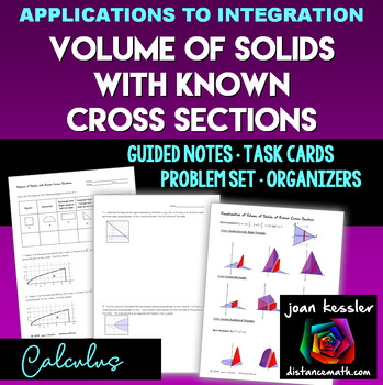 Calculus: Volume of Solids of  Known Cross Section Task Cards, Organizer