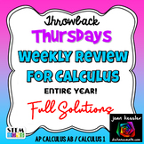 Calculus Weekly Review Fun Theme - Whole Year