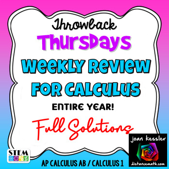 Calculus AB / Calculus 1 Weekly Review Fun Theme Whole Year