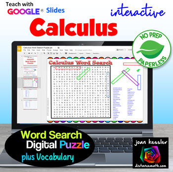 Calculus Word Search Puzzle Interactive with GOOGLE Slides™