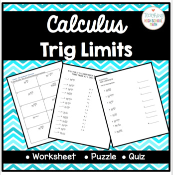 Calculus Working With Trig Limits Squeeze And Sandwich Theorem Packet
