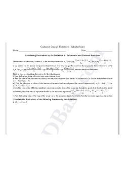 Calculus Worksheet - Derivatives by Definition 1 - Poly. and Rat'l Functions