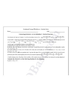 Calculus Worksheet - Derivatives by Definition 2 - Radical