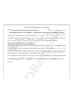 Calculus Worksheet - Derivatives by Definition 3 - Trig., Exp., Log. Functions