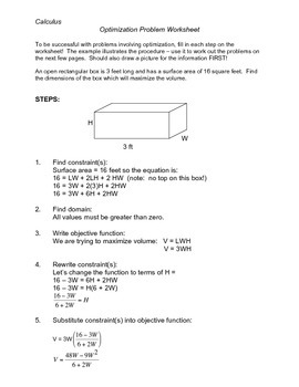 optimization calculus worksheet the best and most comprehensive worksheets. Black Bedroom Furniture Sets. Home Design Ideas